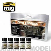 AMIG7146 Ammo Mig Набор для создания реалистичных эффектов CIVIL ENGINES WEATHERING SET
