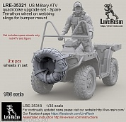 LRE35321 US Military ATV quadrobike upgrade set - Spare Terrathon wheel on webbing slings for bumper mount